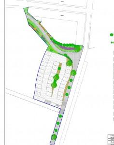 Planta Geral da Área de Autocaravanas em Messines, com 30 lugares para estacionamento, equipamentos de receção, mobiliário urbano, estação de serviço, área ajardinada, pavimentação do parque e da rua ( atualmente em terra batida)