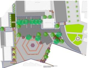 Planta Geral do Parque de Feiras de Alcantarilha, com um  área de cerca de 4300m2, espaço polivalente destinado a estacionamento, realização de feiras e mercados e outras